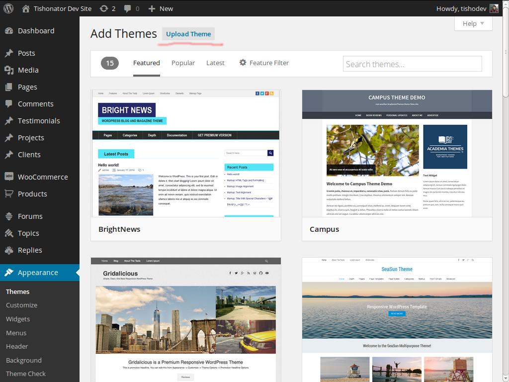 Wp Templates | Theme Installation Tishonator