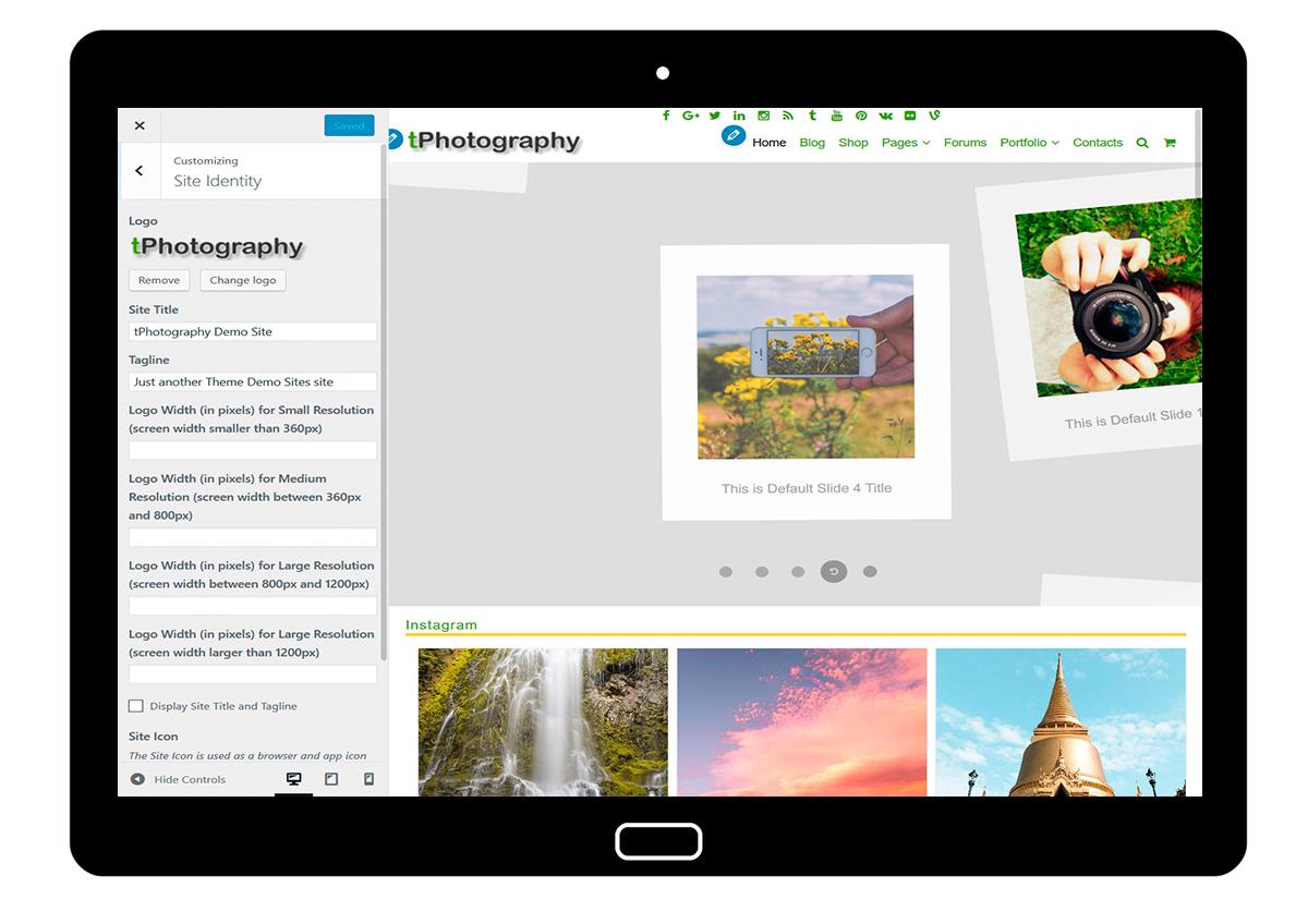 tPhotograpphy Customizing Site Identity