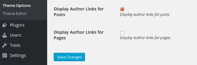 show author links options