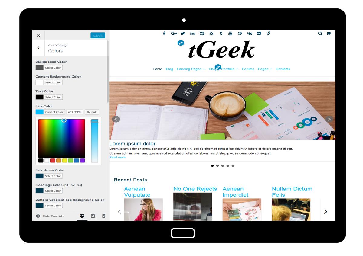 tGeek Customizer Colors