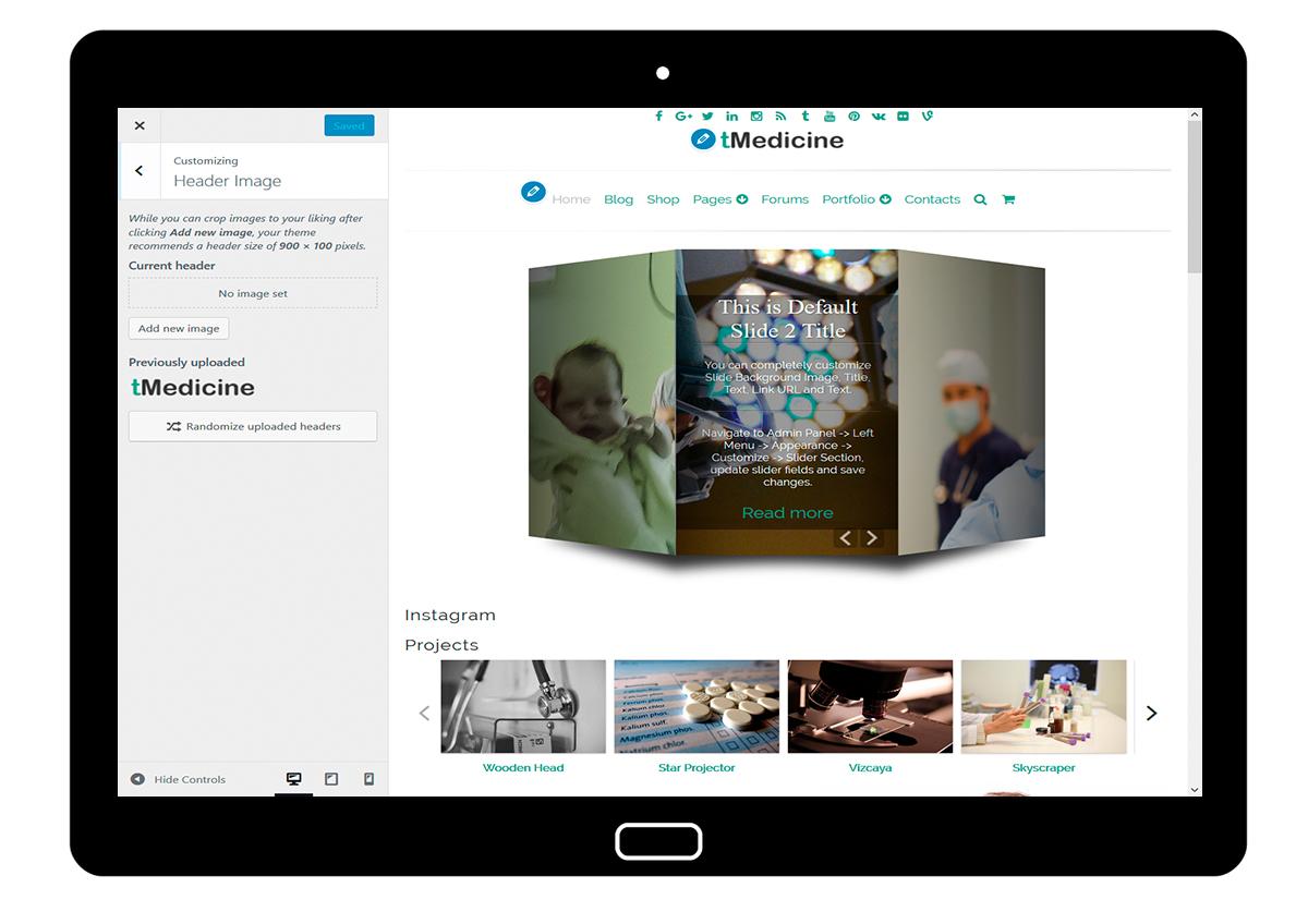 tMedicine Customizing Header Image