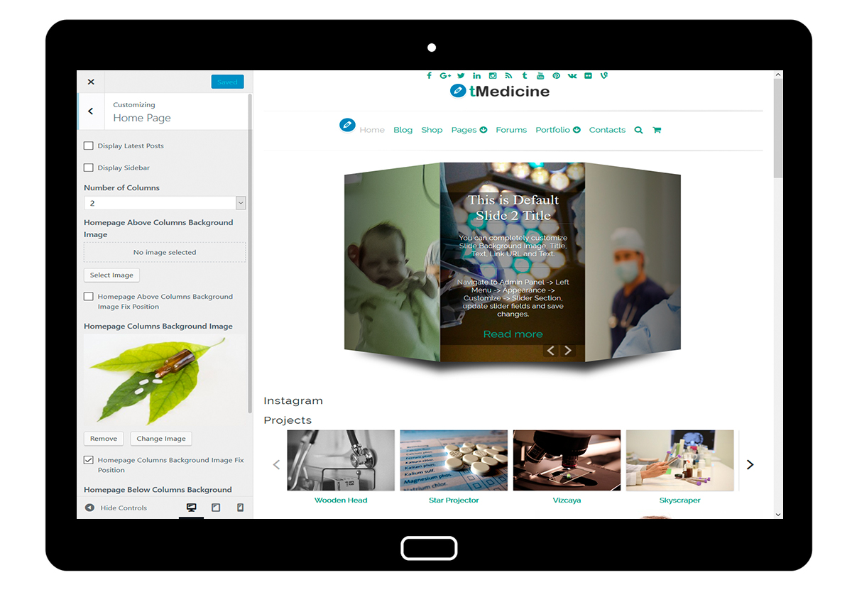 tMedicine Customizing Home Page