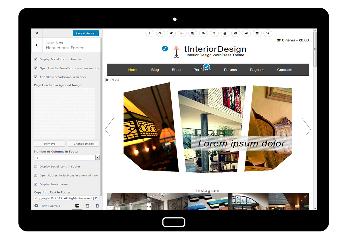 tInteriorDesign Customize Header and Footer