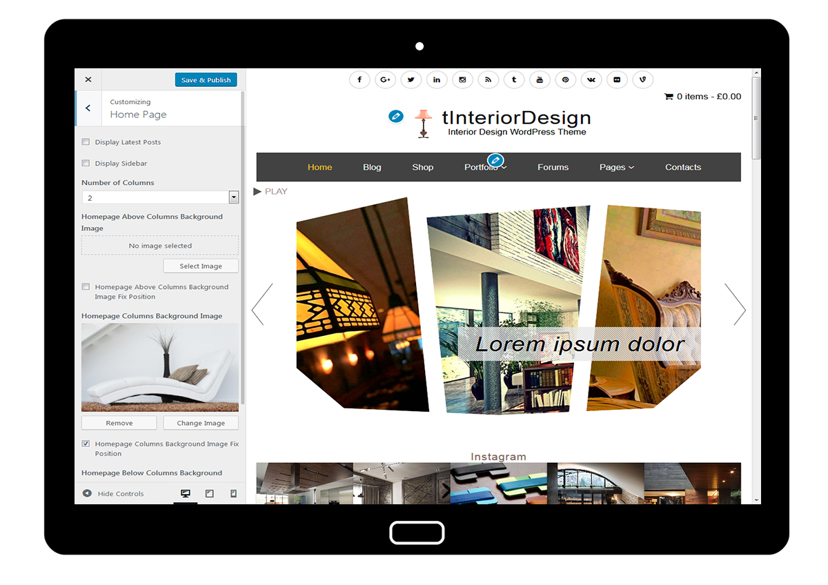 tInteriorDesign Customize Home Page