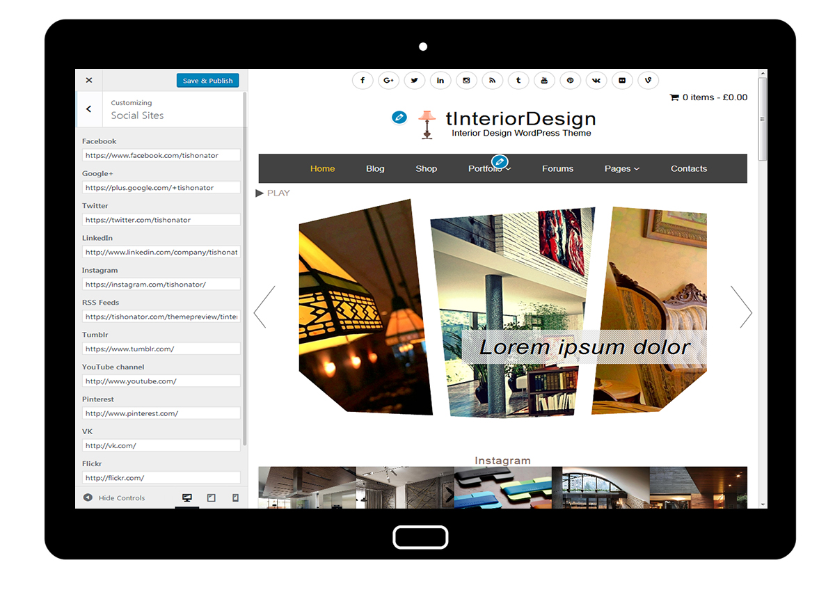 tInteriorDesign Customize Social Sites