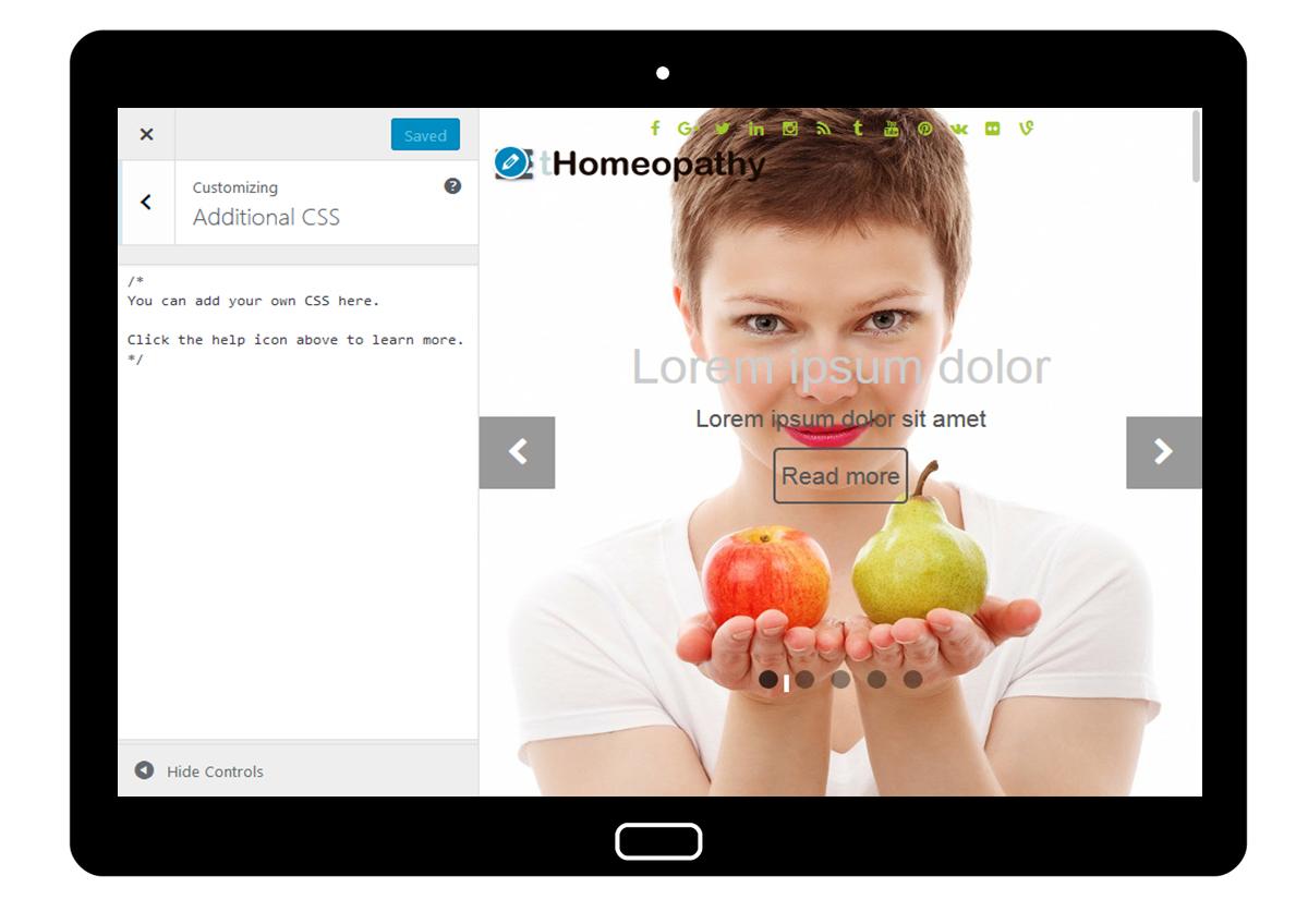 tHomeopathy Customizer: Additional CSS