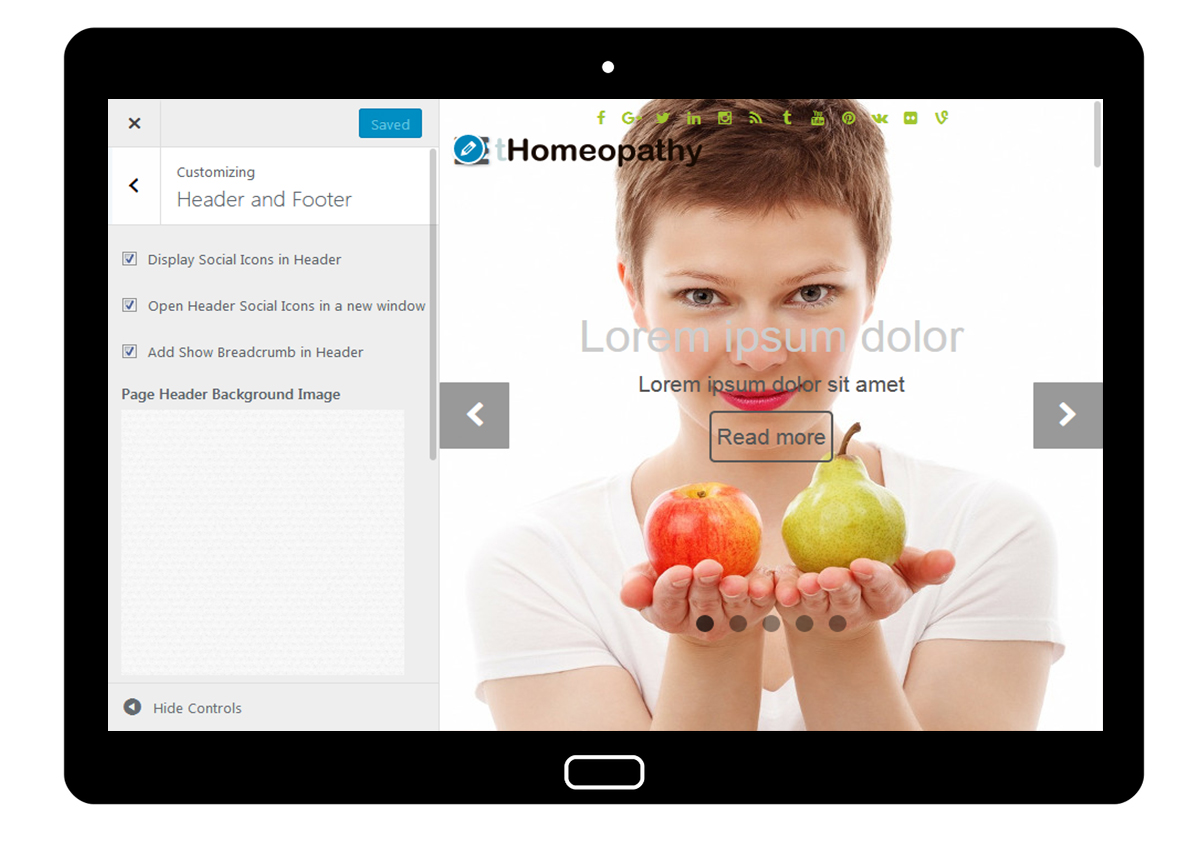 tHomeopathy Customizer: Header and Footer