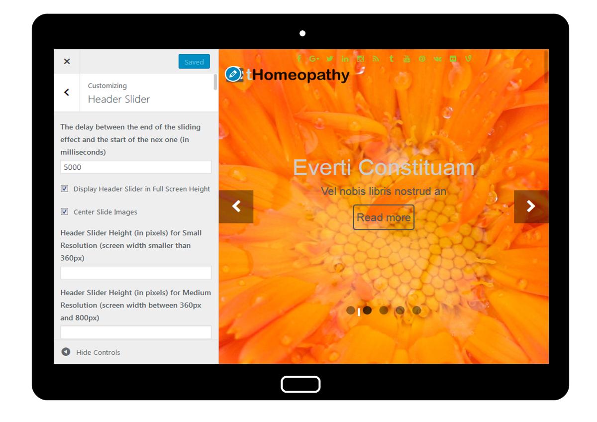 tHomeopathy Customizer: Header Slider