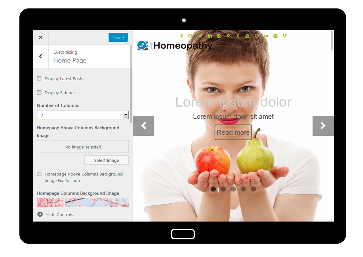 tHomeopathy Customizer: Home Page