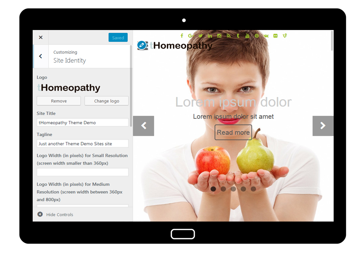 tHomeopathy Customizer: Site Identitty