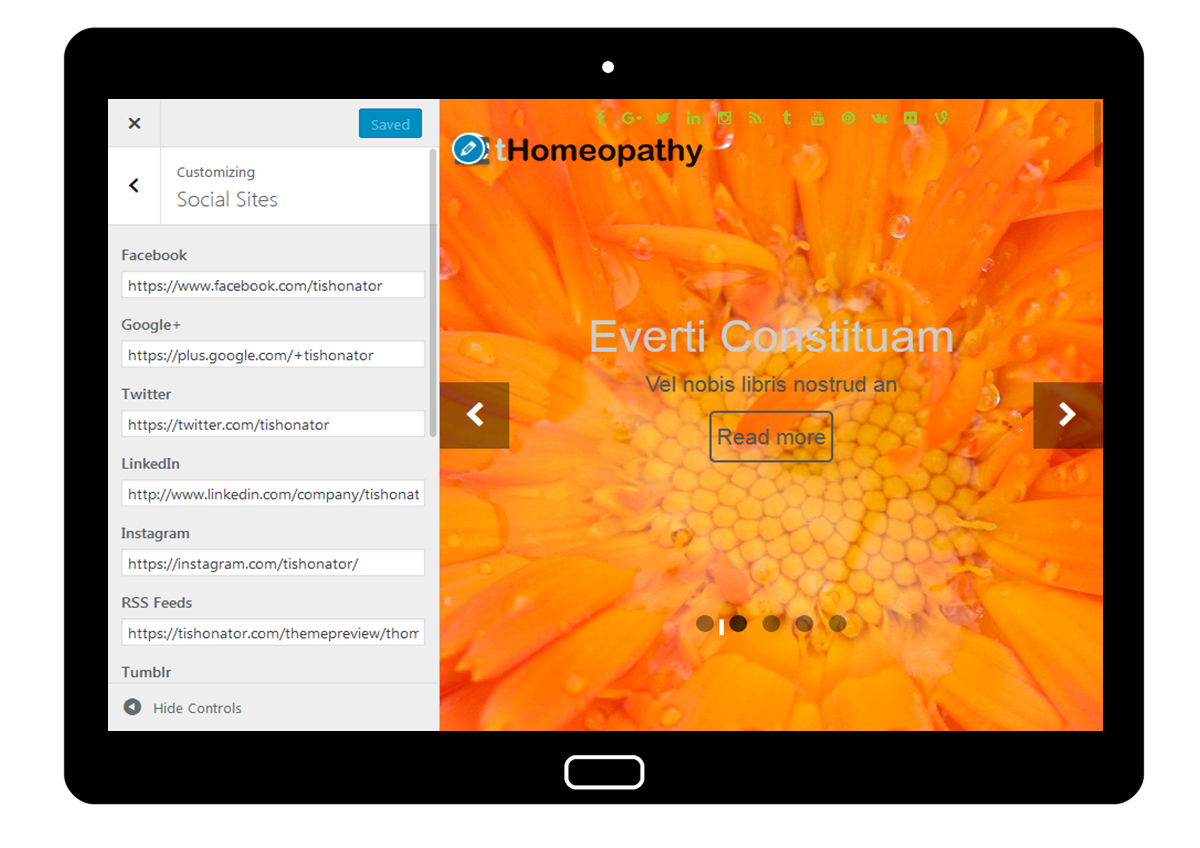 tHomeopathy Customizer: Social Sites