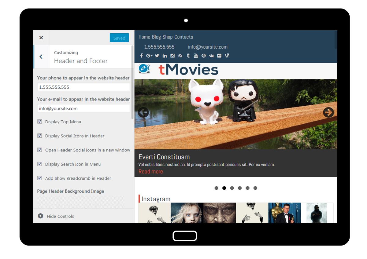 tMovies Customizer: Header and Footer
