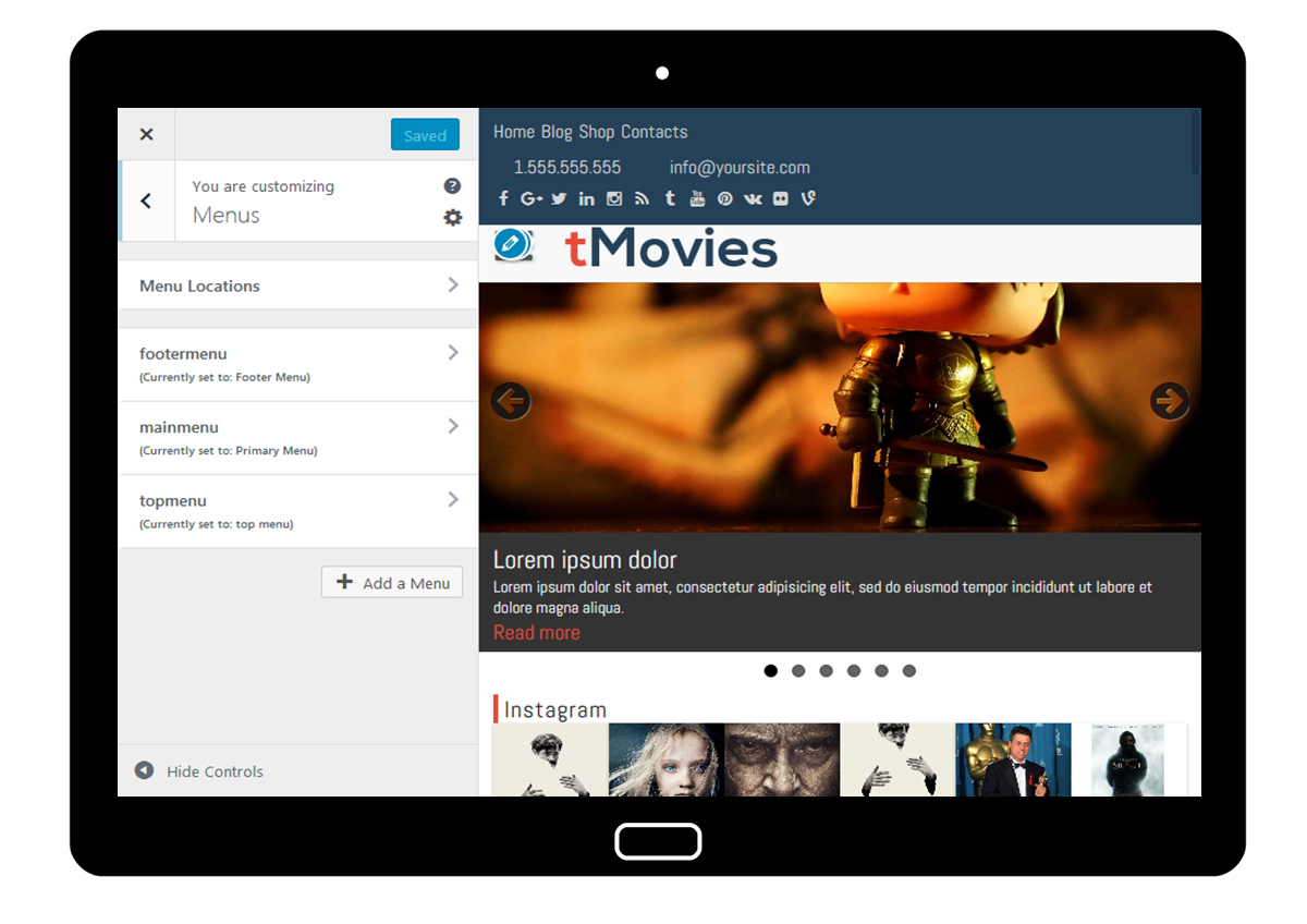 tMovies Customizer: Menus