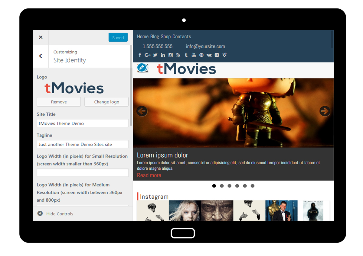 tMovies Customizer: Site Identity