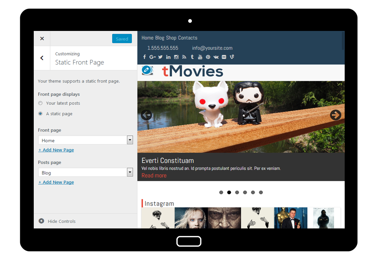 tMovies Customizer Static Front Page