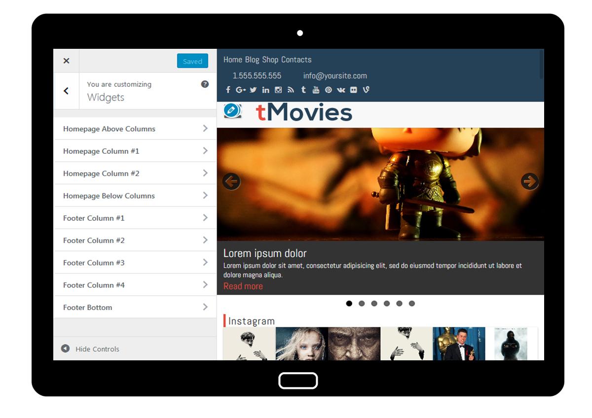 tMovies Customizer: Widgets