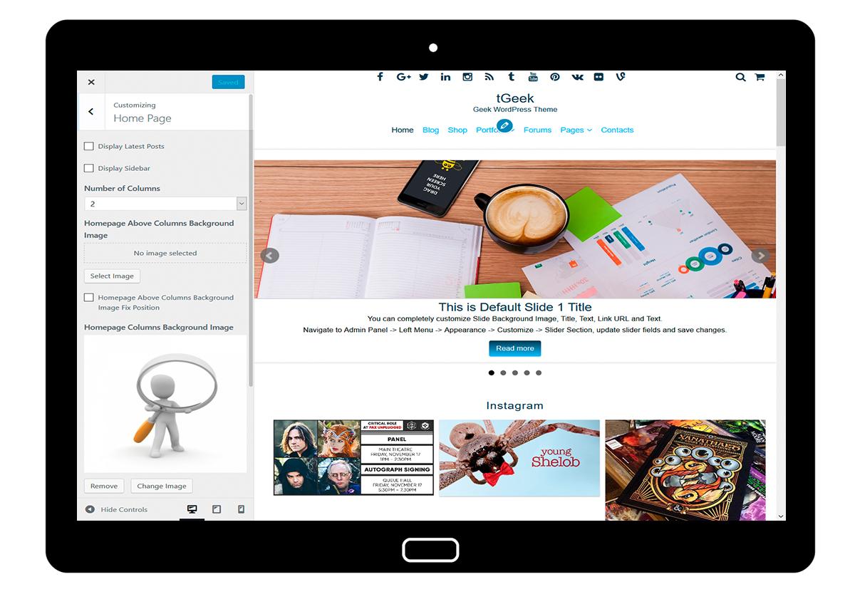 tGeek Customizing Home Page