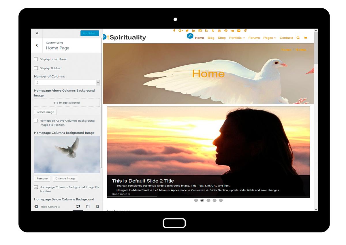 tSpirituality Customizing: Home Page