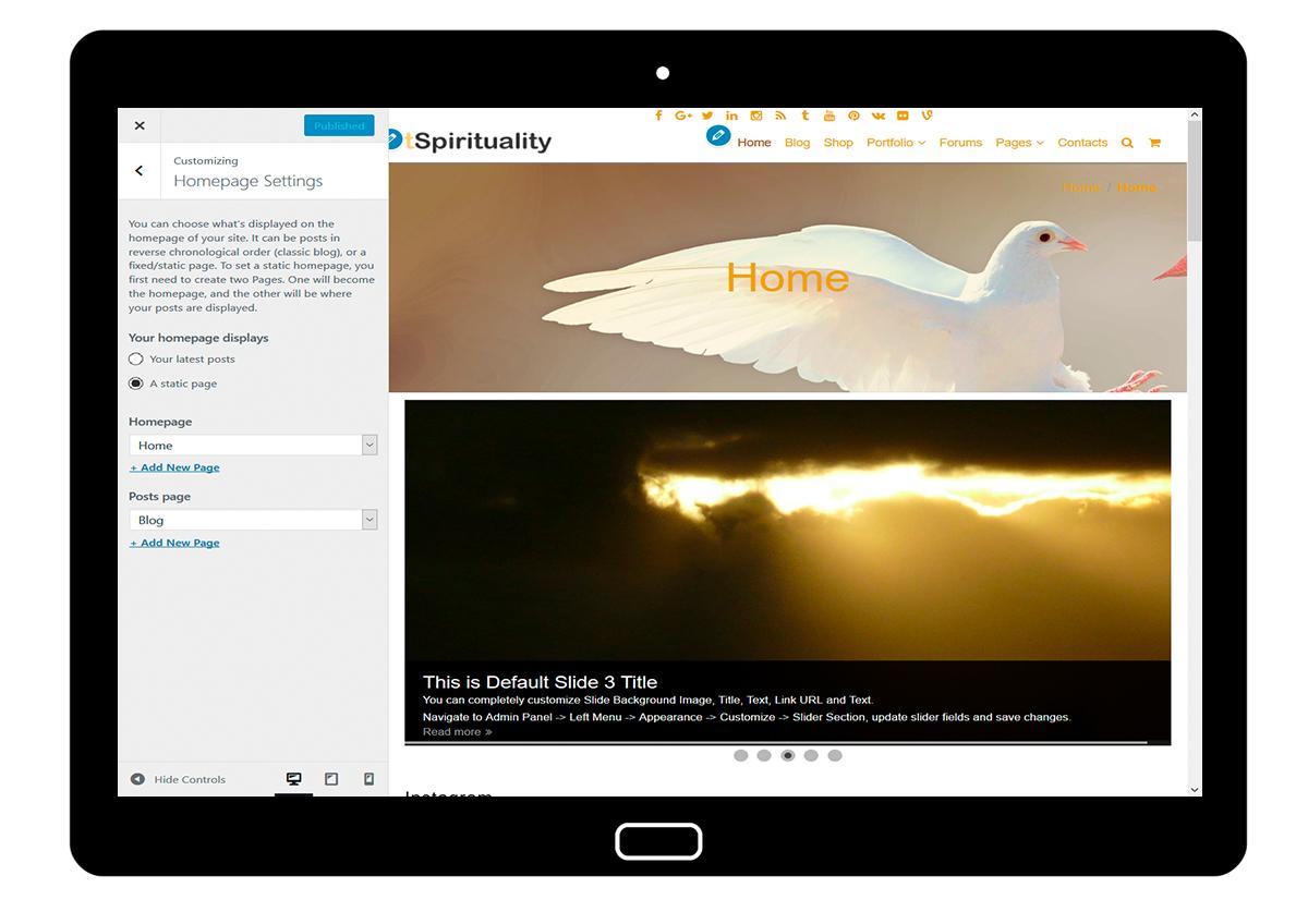 tSpirituality Customizing: Homepage Settings