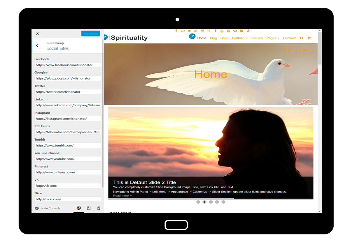 tSpirituality Customizing: Social Sites