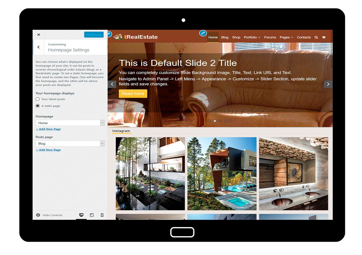 tRealEstate Cutomizing Homepage Settings