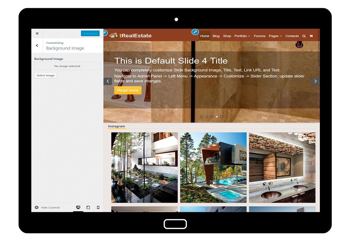 tRealEstate Customizing Background Image