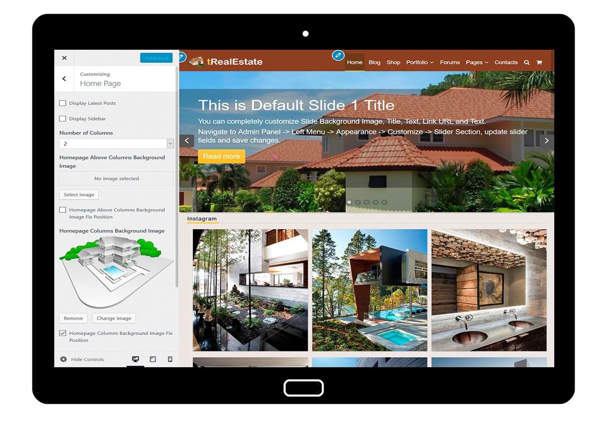 tRealEstate Customizing Homepage