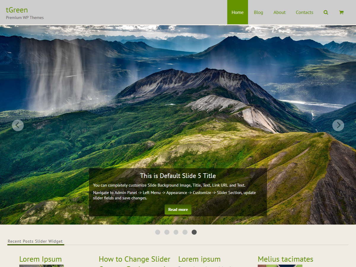 tGreen Theme: Display Slider in Full-Width