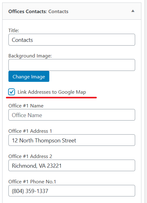 Offices Contacts Widget: Link Address to Google Map