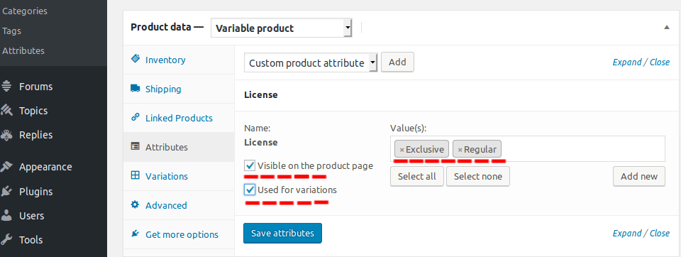 add product attributes