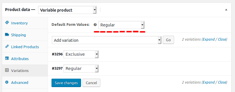 default form values