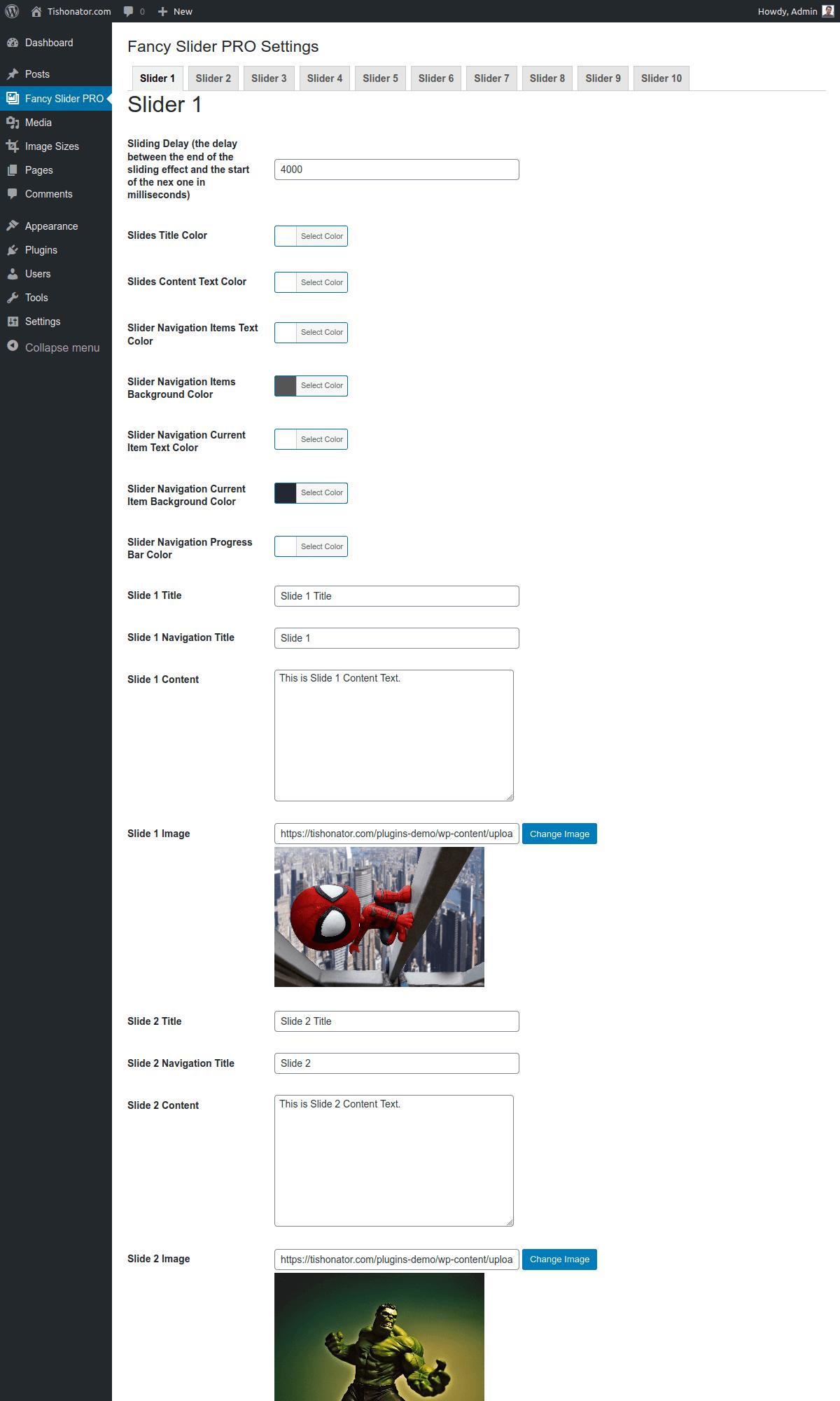 Fancy Slider Pro Admin Settings