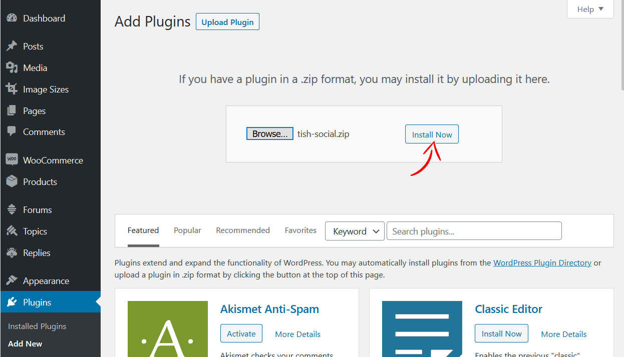 plugins install now