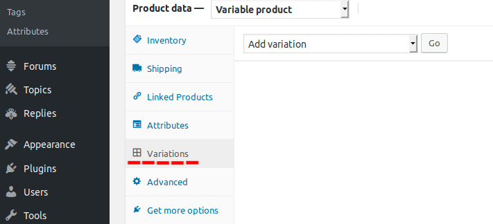 Product Variations tab