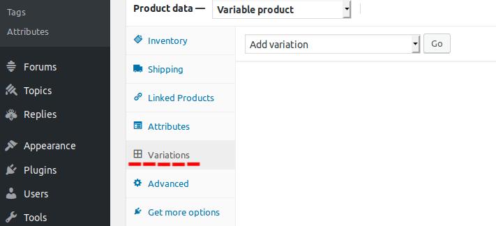 Product Variations tab