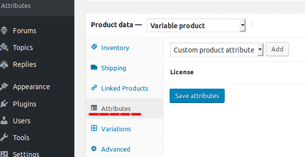 products attributes tab