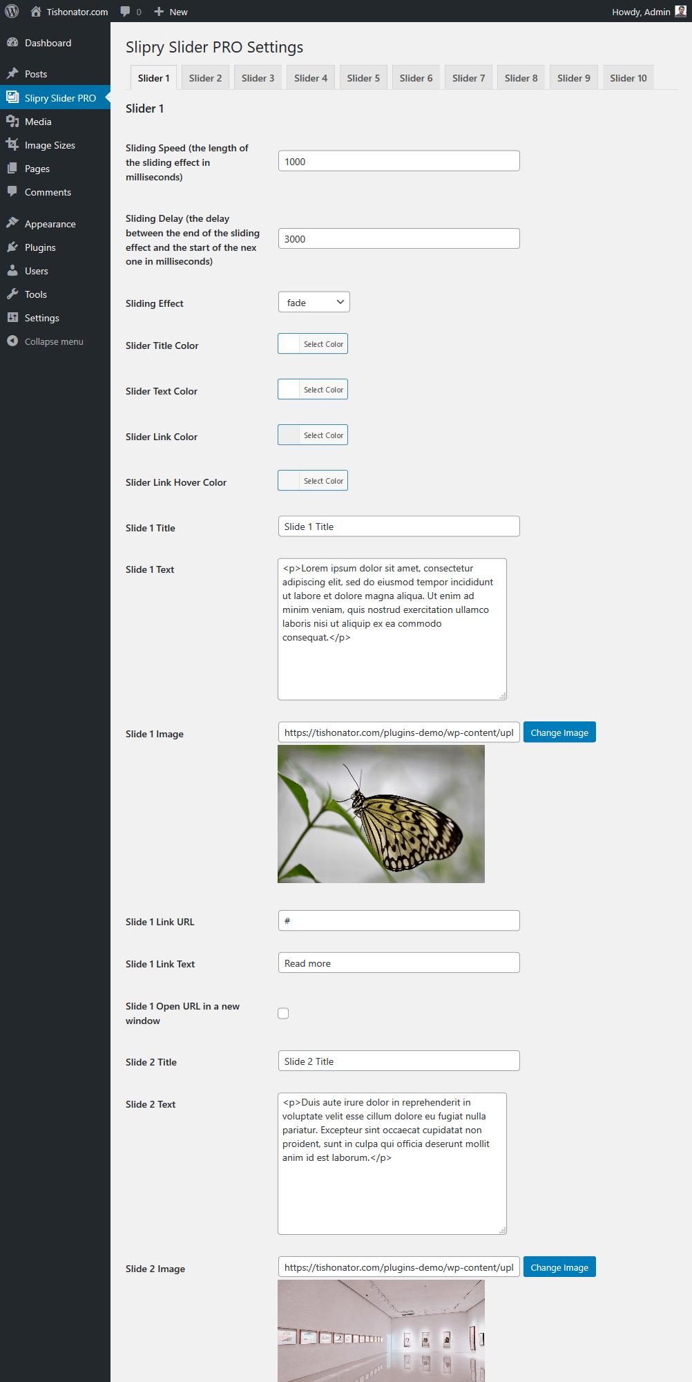 Slipry Slider Pro Admin Page