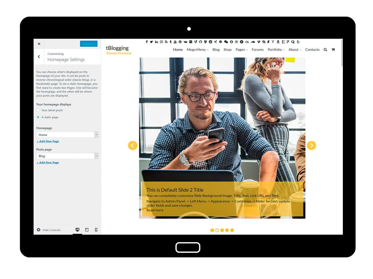 tBlogging Customizing Homepage Settings