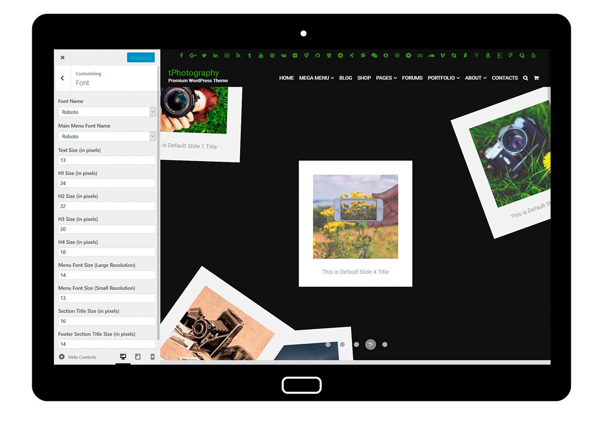 tPhotography Customizing Font