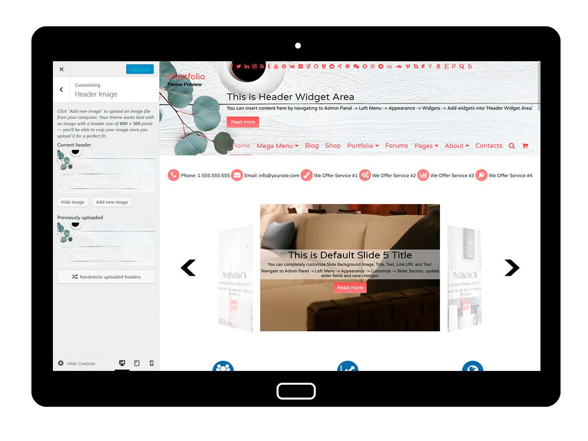tPortfolio Customizing Header Image