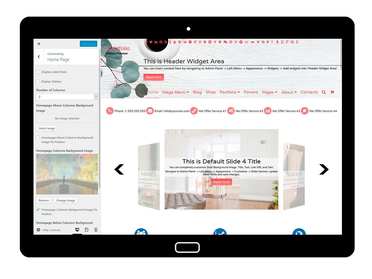 tPortfolio Customizing Homepage