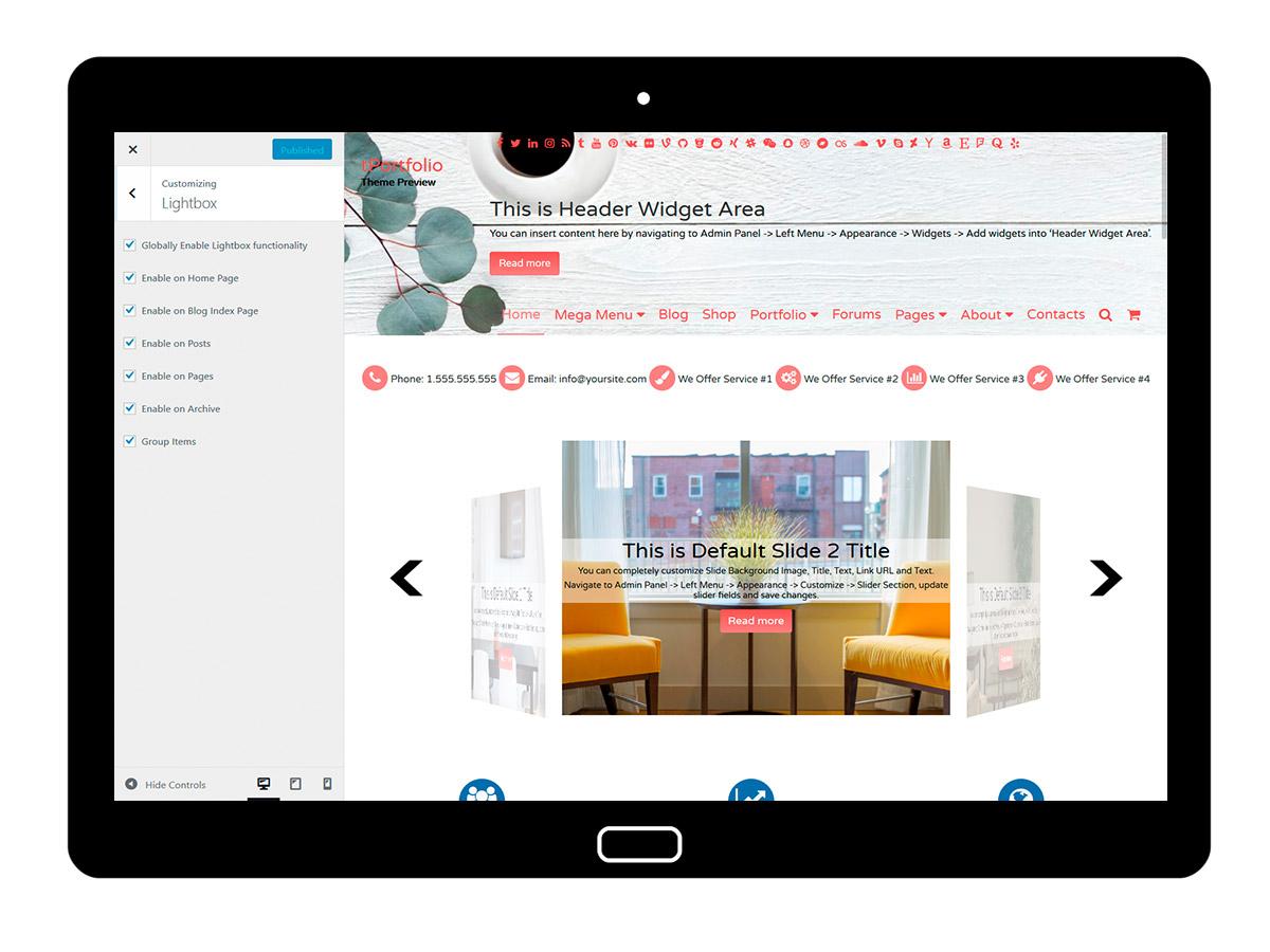 tPortfolio Customizing Lightbox
