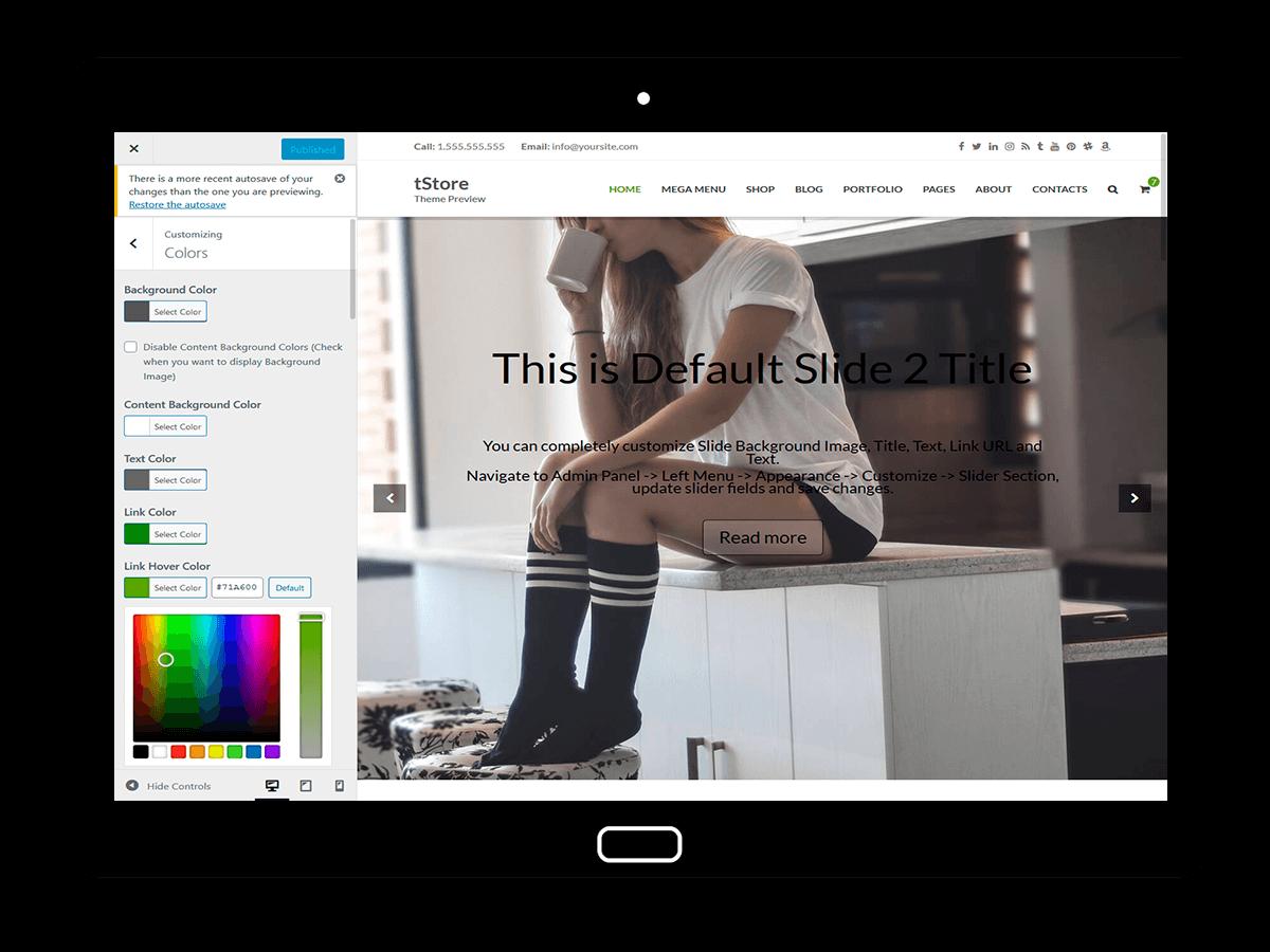 tStore Customizing Colors