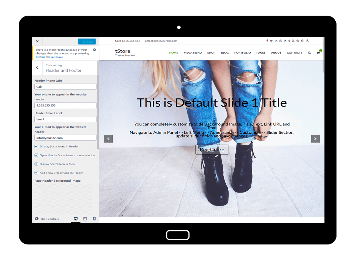 tStore Customizing Header and Footer