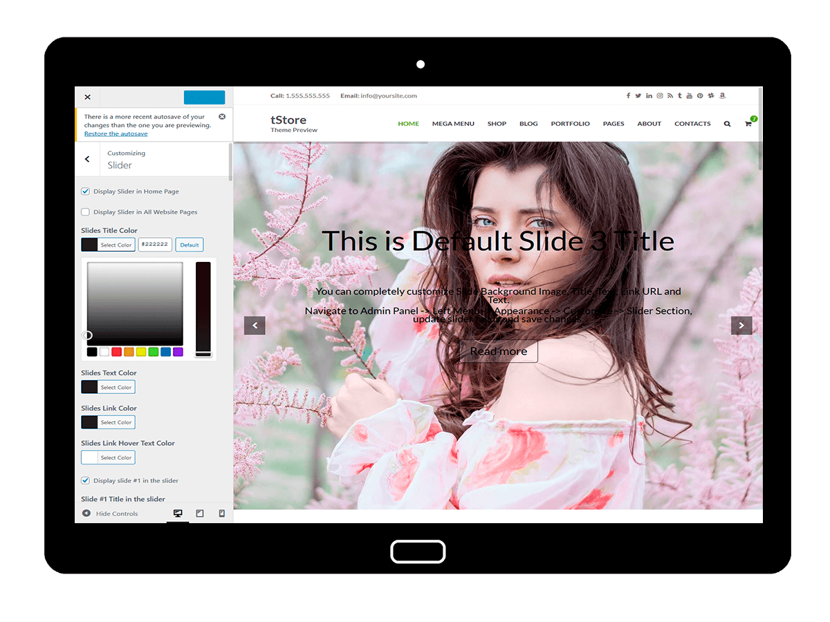 tStore Customizing Slider