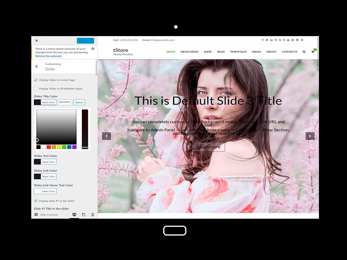 tStore Customizing Slider